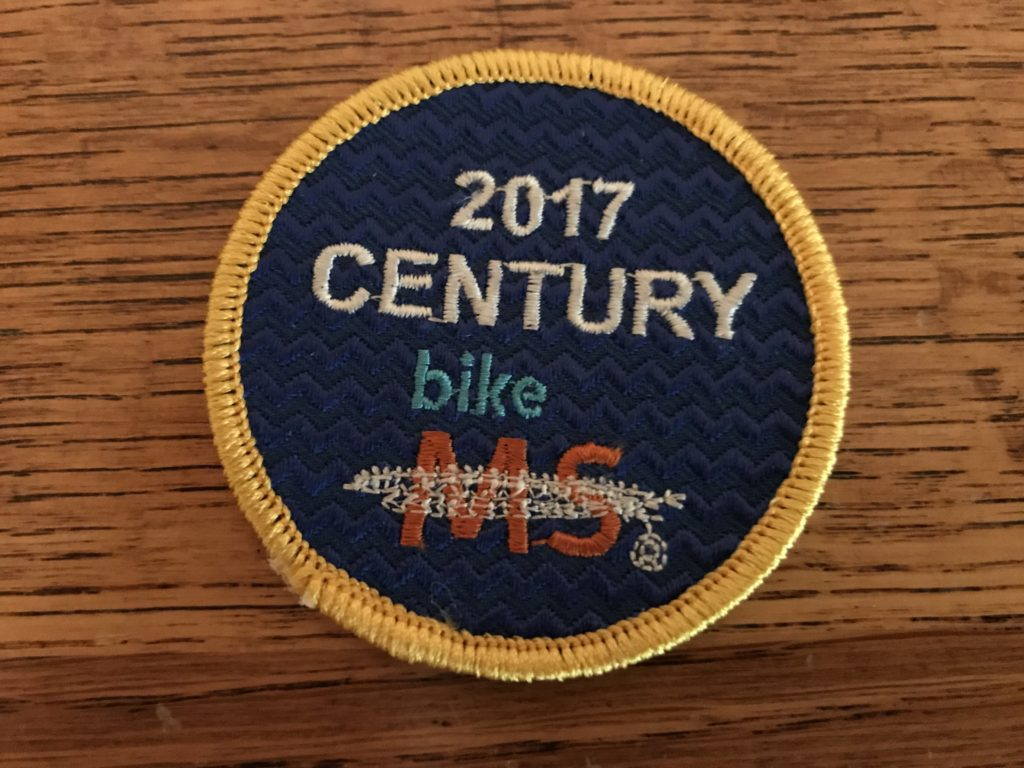 For riding 100 miles in a single day they gave me a century patch.
